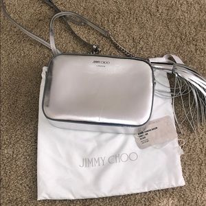 Jimmy choo athini camera bag silver NWT